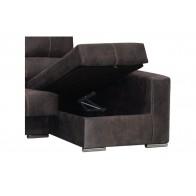 Chaise-longue Goya color marrón con arcón muy cómodo y barato. Visto frente derecha.  Mobelcenter