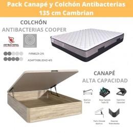 Pack Canape Alta Capacidad y Colchón Antibacterias 135x190 cm Cambrian