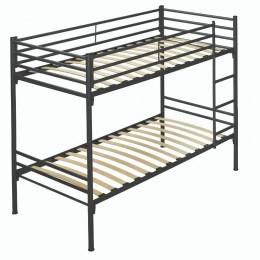 Litera Metálica 250 color grafito convertible en 2 camas individuales, con barandilla y escaleras fijas, barata. Mobelcenter