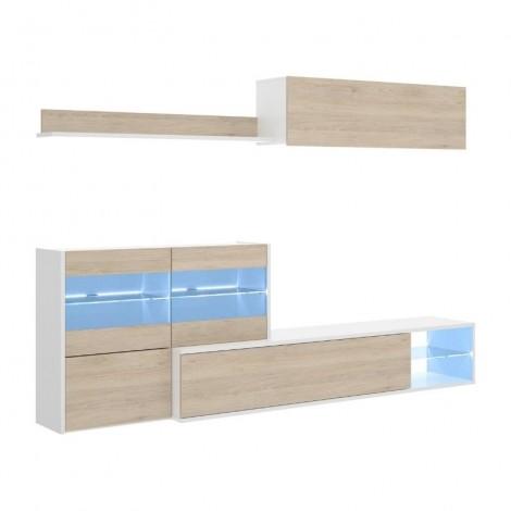 Mueble de salón con Leds Uma, blanco brillo y roble natural, reversible, esquinero, con vitrina y leds, barato. Mobelcenter