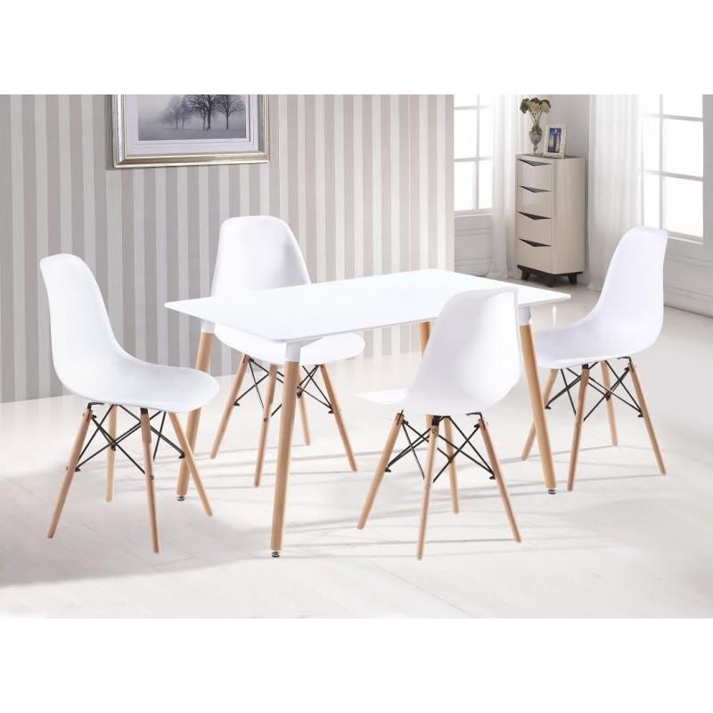 Pack mesa rectangular y sillas tower blanco mobelcenter for Muebles dinamarca