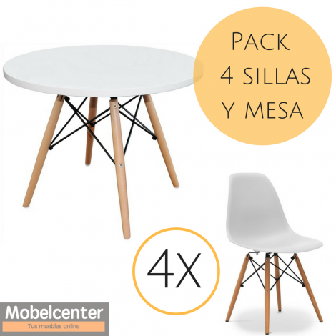 Y Pack Redonda Tower 139€ Sillas Blanco Mobelcenter Mesa 80OvmNwn