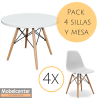 Pack Mesa Redonda y Sillas Tower Blanco