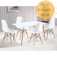 Pack Mesa Rectangular y Sillas Tower Blanco